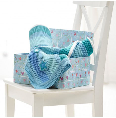 Clair De Lune Pick n Mix Knitted Pram / Moses Basket / Crib Blanket - Blue