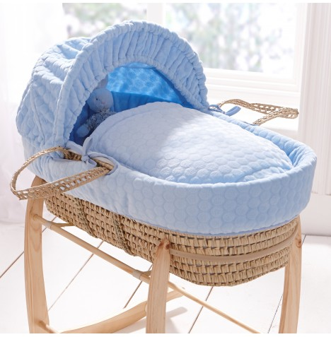 Clair De Lune Padded Palm Moses Basket - Blue Marshmallow