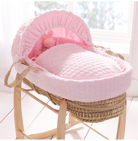 Clair De Lune Padded Palm Moses Basket - Pink Marshmallow
