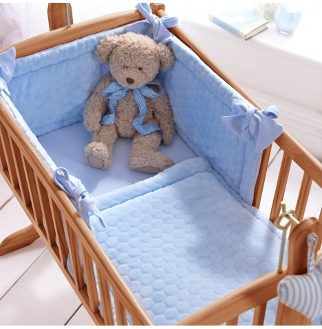 Clair De Lune Rocking Cradle Quilt & Bumper Set - Blue Marshmallow