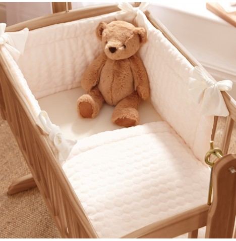 Clair De Lune Rocking Cradle Quilt & Bumper Set - Cream Marshmallow