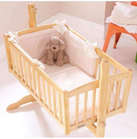 Clair De Lune Rocking Cradle Quilt & Bumper Set - Honeycomb Cream