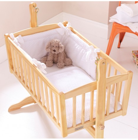 Clair De Lune Rocking Cradle Quilt & Bumper Set - Honeycomb White