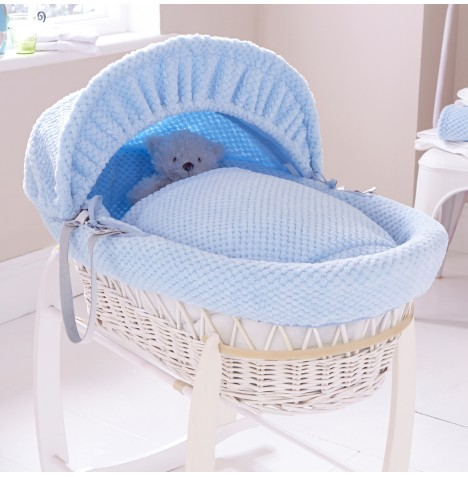 Clair De Lune Deluxe Padded White Wicker Baby Moses Basket - Honeycomb Blue