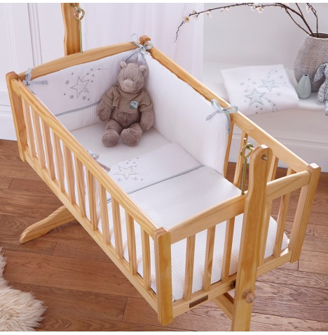 Clair De Lune Rocking Crib 2 Piece Quilt & Bumper Set - Stardust White