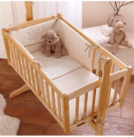Clair De Lune Rocking Crib 2 Piece Quilt & Bumper Set - Stardust Cream