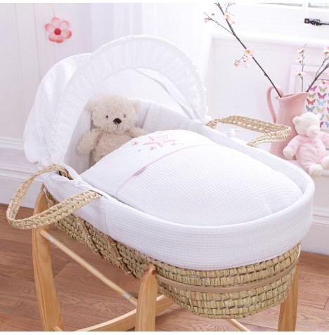 Clair De Lune Padded Palm Moses Basket - Stardust Pink