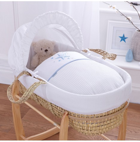 Clair De Lune Padded Palm Moses Basket - Stardust Blue