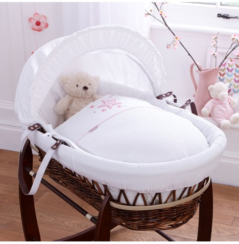 Clair De Lune Deluxe Padded Dark Wicker Baby Moses Basket - Stardust Pink