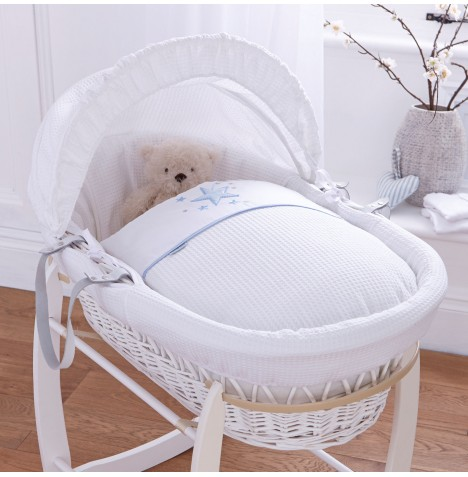 Clair De Lune Deluxe Padded White Wicker Baby Moses Basket - Stardust Blue