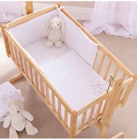 Clair De Lune Rocking Crib 2 Piece Quilt & Bumper Set - Starburst White