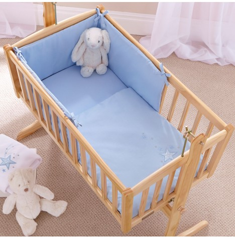 Clair De Lune Rocking Crib 2 Piece Quilt & Bumper Set - Starburst Blue