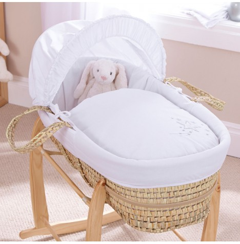 Clair De Lune Padded Palm Moses Basket - Starburst White