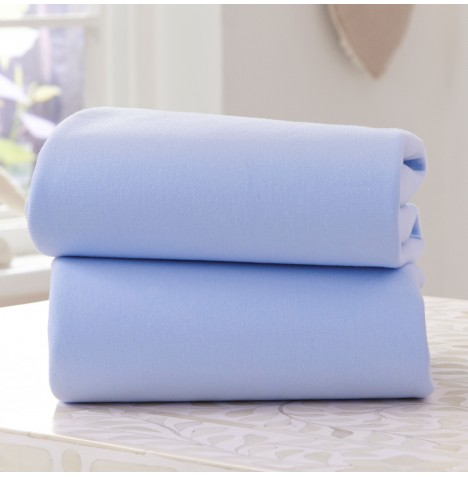 Clair De Lune (2 Pack) Moses Basket Fitted Cotton Jersey Interlock Sheets - Blue