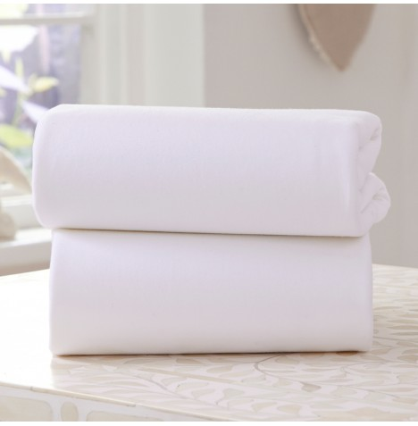 Clair De Lune (2 Pack) Pram / Crib Fitted Cotton Jersey Interlock Sheets - White