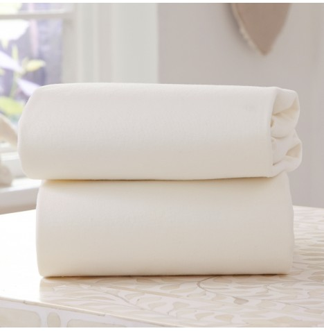 Clair De Lune (2 Pack) Pram / Crib Fitted Cotton Jersey Interlock Sheets - Cream