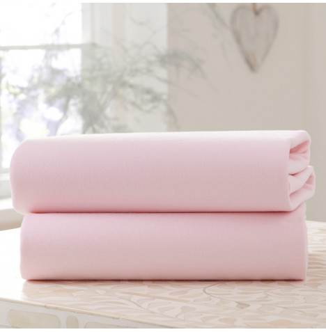Clair De Lune (2 Pack) Cot Bed Fitted Cotton Jersey Interlock Sheets   Pink