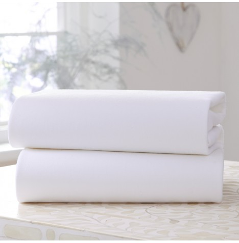 Clair De Lune (2 Pack)Cot / Cot Bed Flat Cotton Jersey Interlock Sheets - White