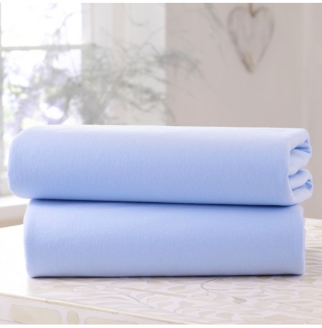 Clair De Lune (2 Pack) Cot / Cot Bed Flat Cotton Jersey Interlock Sheets - Blue