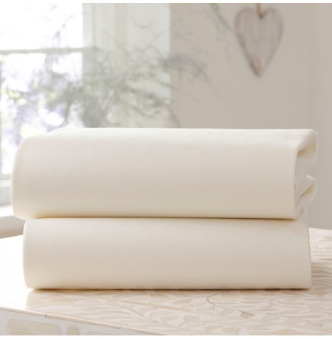 Clair De Lune (2 Pack) Cot / Cot Bed Flat Cotton Jersey Interlock Sheets - Cream