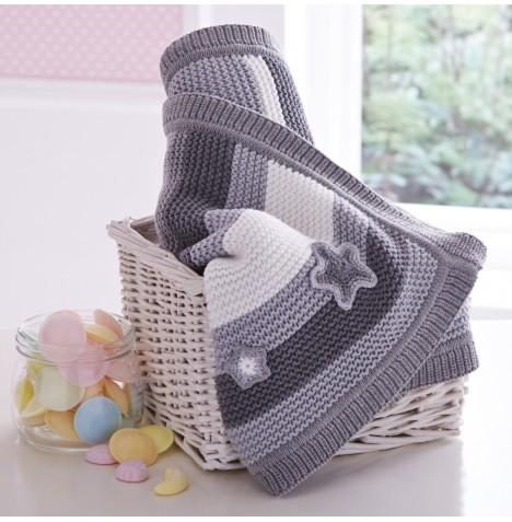 Knitting Pattern Moses Basket Blanket : Clair De Lune Pick n Mix Knitted Pram / Moses Basket / Crib Blanket - Grey ...
