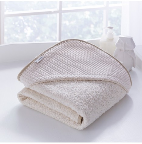 Clair De Lune Luxury Hooded Towel - Waffle Cream