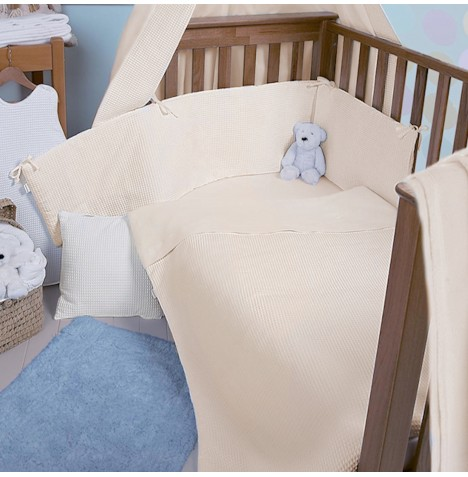 Clair De Lune Cot / Cot Bed Quilt & Bumper Set - Waffle Cream