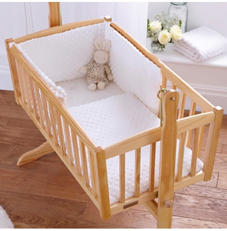 Clair De Lune Rocking Crib Quilt & Bumper Set - Dimple White