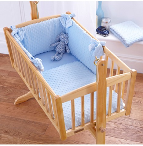 Clair De Lune Rocking Crib Quilt & Bumper Set - Dimple Blue