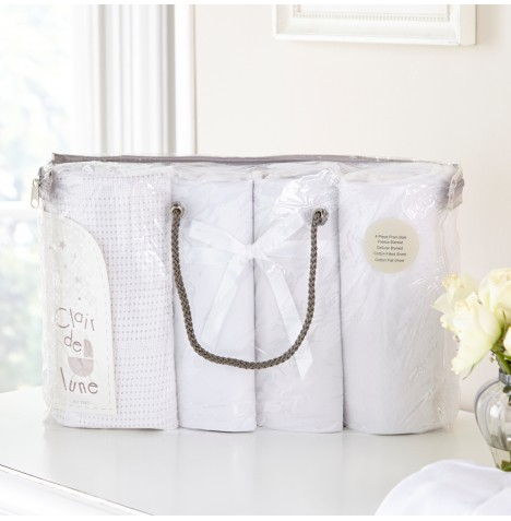 Clair De Lune 4 Piece Pram / Crib Bedding Bale Gift Set - White