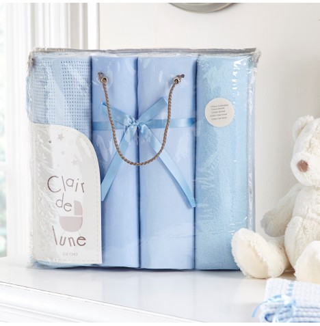 Clair De Lune 4 Piece Cot Bed Bedding Bale Gift Set - Blue