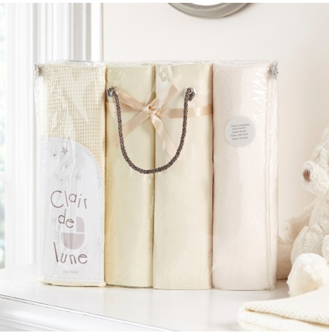 Clair De Lune 4 Piece Cot Bed Bedding Bale Gift Set - Cream