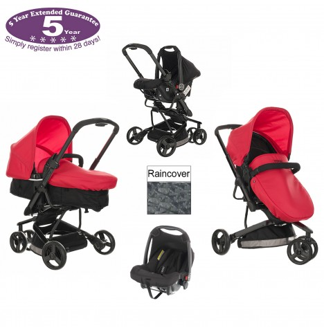 Obaby Chase 3 Wheel Pramette Travel System - Mars Black & Red