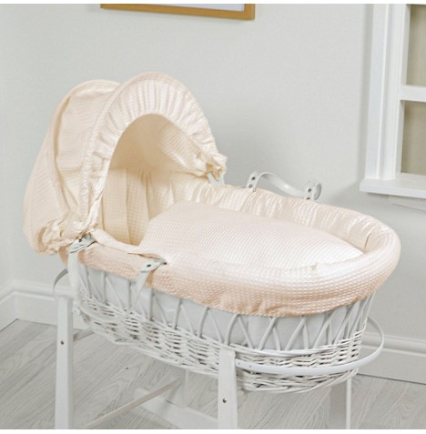 4Baby Luxury Padded White Wicker Baby Moses Basket - Cream Waffle