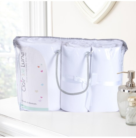 Clair De Lune 3 Piece Pram / Crib Bedding Bale Gift Set - White