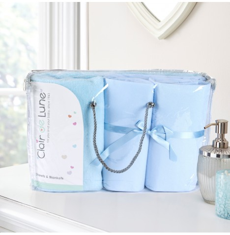 Clair De Lune 3 Piece Pram / Crib Bedding Bale Gift Set - Blue