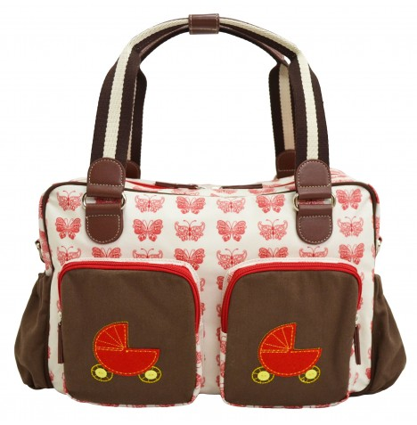 4baby Designer Fashion Baby Changing Bag - Butterfly Red