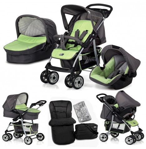 hauck shopper mint trio set travel system carrycot pushchair stroller car seat ebay. Black Bedroom Furniture Sets. Home Design Ideas