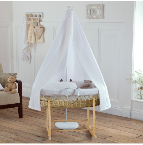 Clair De Lune 6 Piece Natural Wicker Moses Basket, Stand & Drape Set - Waffle White