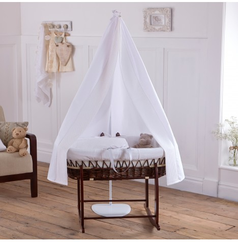 Clair De Lune 6 Piece Dark Wicker Moses Basket, Stand & Drape Set - Waffle White