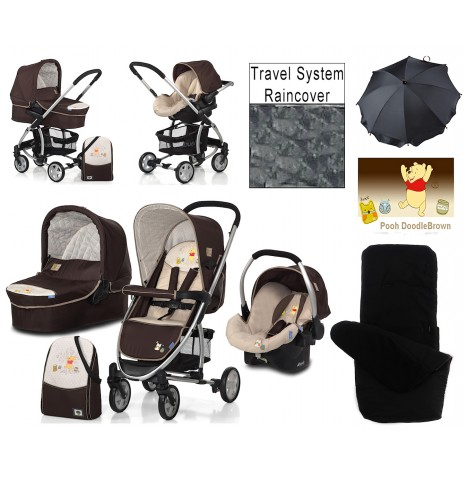 Hauck Disney Malibu 11 All In One Travel System + Accessories - Pooh Doodle Brown