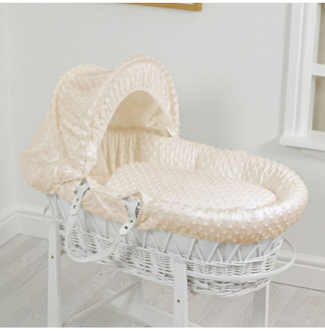 4Baby Luxury Padded White Wicker Baby Moses Basket - Cream Dimple