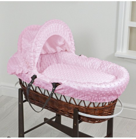 4Baby Luxury Padded Dark Wicker Baby Moses Basket - Pink Dimple