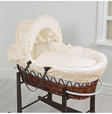 4Baby Luxury Padded Dark Wicker Baby Moses Basket - Cream Dimple