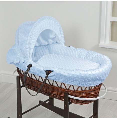 4Baby Luxury Padded Dark Wicker Baby Moses Basket - Blue Dimple