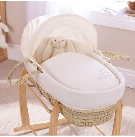 Clair De Lune Palm Moses Basket - Starburst Cream