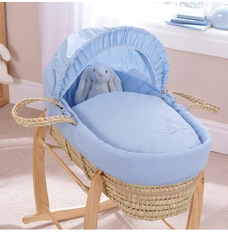 Clair De Lune Palm Moses Basket - Starburst Blue