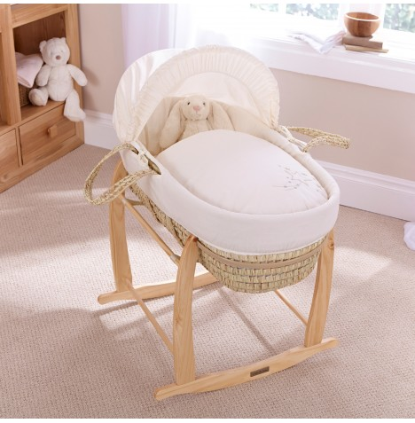 Clair De Lune Palm Moses Basket With Deluxe Rocking Stand - Starburst Cream