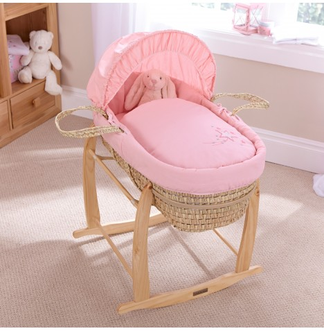 Clair De Lune Palm Moses Basket With Deluxe Rocking Stand - Starburst Pink