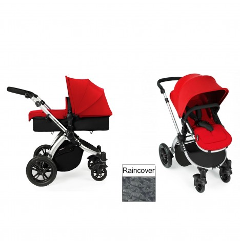 Ickle Bubba Stomp V2 Silver 2 in 1 Pushchair - Red
